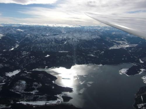 in 3.700 Metern Höhe in der Fönwelle über dem Walchensee